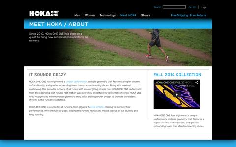 Screenshot of About Page hokaoneone.com - About HOKA ONE ONE | Official Site - captured Sept. 22, 2014