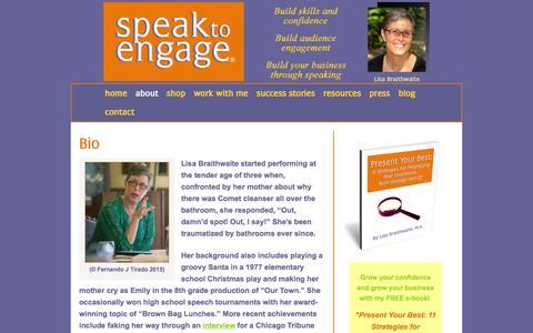Screenshot of About Page coachlisab.com - Public Speaking Coach Lisa Braithwaite   Bio - captured Jan. 30, 2016