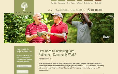 Screenshot of Blog medfordleas.org - Medford NJ Senior Living Community: Blog | Medford Leas - captured Sept. 20, 2018