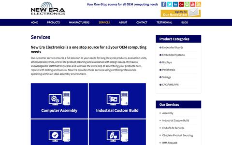 Screenshot of Services Page neweraelectronics.com - New Era Electronics – Services Provided for OEMs - captured Oct. 1, 2014