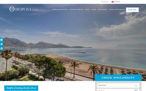 Screenshot of Home Page hoposa.es - Hotels & Resorts - Mallorca, Spain | Hoposa Hotels - captured Sept. 22, 2018