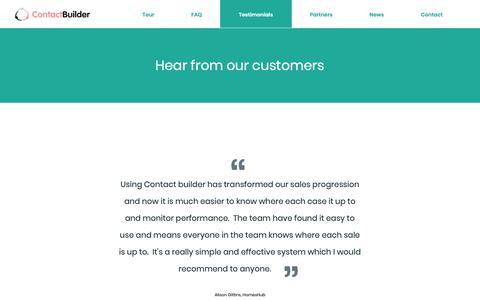 Screenshot of Testimonials Page contact-builder.co.uk - Testimonials | ContactBuilder - captured Sept. 29, 2018