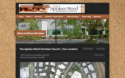 Screenshot of Locations Page thespokenwordchurch.com - When & Where We Meet - Spoken Word Christian Church - captured Oct. 6, 2014