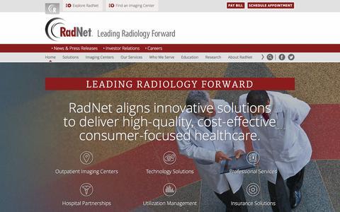 Screenshot of Home Page radnet.com - RadNet - Leading Radiology Forward | Outpatient Imaging Centers - captured Sept. 19, 2018