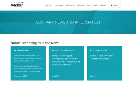 Screenshot of Press Page nordistechnologies.com - Company News and Information - Communications Management Software Leader   Nordis Technologies - captured Nov. 22, 2019