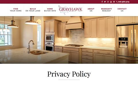 Screenshot of Privacy Page grayhawkhomesinc.com - Privacy Policy - - captured July 23, 2018