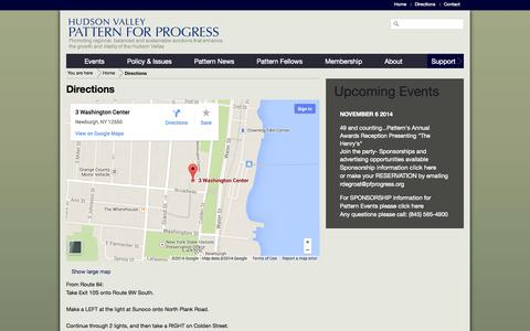 Screenshot of Maps & Directions Page pfprogress.org - Directions | Hudson Valley Pattern for Progress - captured Oct. 3, 2014