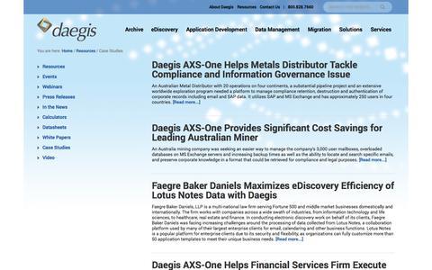 Screenshot of Case Studies Page daegis.com - Case Studies Archives - Daegis - captured Oct. 2, 2014