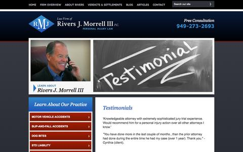 Screenshot of Testimonials Page rjmlawfirm.com - Testimonials | Law Firm of Rivers J. Morrell, III | Orange County, California - captured Oct. 2, 2014