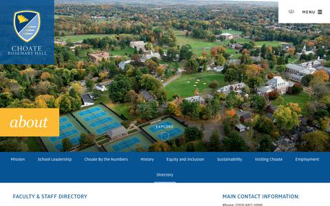 Screenshot of Contact Page choate.edu - Faculty Staff Directory - Choate Rosemary Hall - captured Sept. 28, 2018
