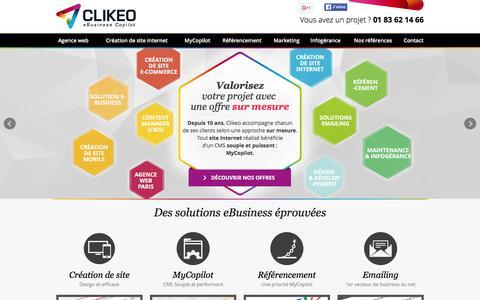 Screenshot of Home Page agence-clikeo.com - Agence Web Paris - captured Jan. 29, 2016