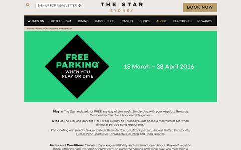 Screenshot of star.com.au - Free Parking | The Star Sydney - captured March 20, 2016