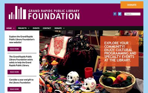 Screenshot of Home Page grplfoundation.org - Grand Rapids Public Library Foundation - captured Jan. 23, 2015