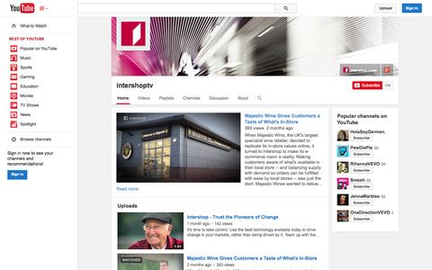Screenshot of YouTube Page youtube.com - intershoptv  - YouTube - captured Oct. 23, 2014