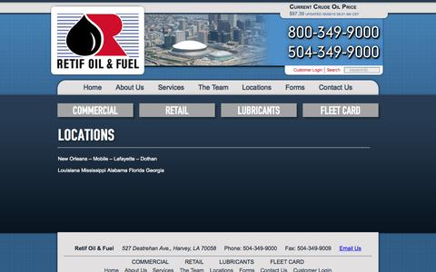 Screenshot of Locations Page retif.com - Retif Oil & Fuel : : Commercial & Retail Oil Delivery : : Locations - captured Oct. 9, 2014