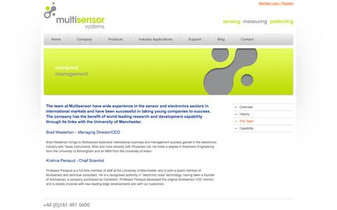 Screenshot of Team Page multisensor.co.uk - Management team, Brad Weaterton CEO/MD, Krishna Persaud Director technical consultant - captured Oct. 7, 2014