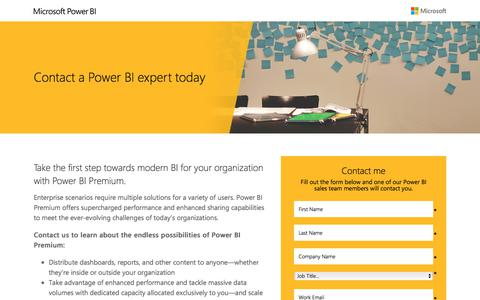 Screenshot of Landing Page microsoft.com - Contact a Power BI expert today | Microsoft - captured July 4, 2017