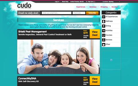 Screenshot of Services Page cudo.com.au - Sydney Services Deals @ Cudo - captured Dec. 12, 2015