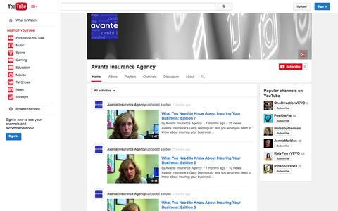 Screenshot of YouTube Page youtube.com - Avante Insurance Agency  - YouTube - captured Nov. 3, 2014