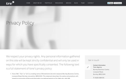 Screenshot of Privacy Page tone.co.uk - Privacy Policy | Tone Agency - captured Oct. 1, 2014