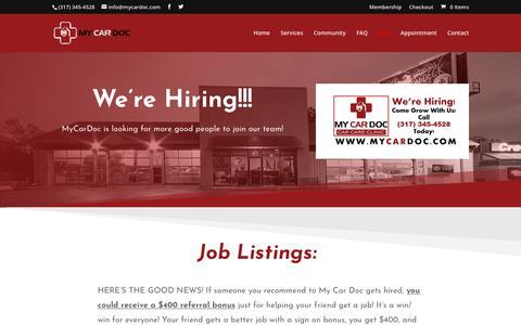 Screenshot of Jobs Page mycardoc.com - Jobs   My Car Doc - captured Nov. 18, 2018