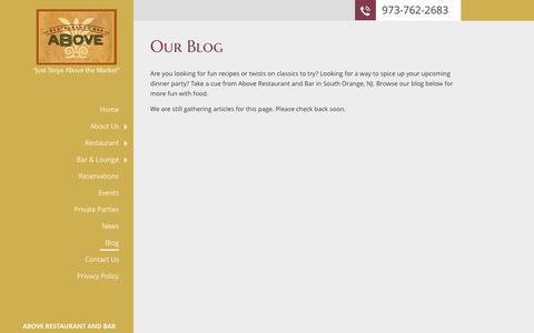 Screenshot of Blog aboverestaurantbar.com - Above Restaurant and Bar | South Orange, NJ | Blog - captured Dec. 23, 2015