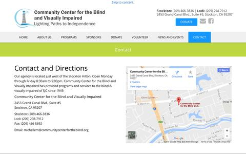Screenshot of Contact Page communitycenterfortheblind.org - Contact | Community Center for the Blind and Visually Impaired - captured Nov. 8, 2016