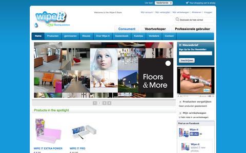 Screenshot of Home Page Contact Page Products Page Press Page Login Page Maps & Directions Page wipeit.eu - Wipe-it | Ecologische schoonmaakmiddelen en melamine wondersponzen - captured Oct. 6, 2014