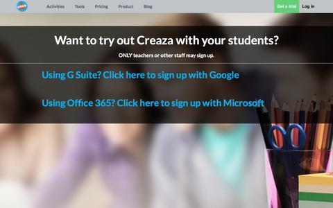 Screenshot of Trial Page creaza.com - Creaza Premium Trial - captured Feb. 21, 2018