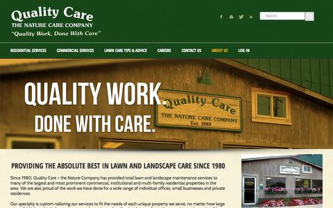 Screenshot of About Page quality-care.com - About Quality Care Landscaping in Iowa | Quality Care - The Nature Care Company - captured Oct. 28, 2014