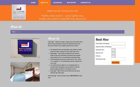 Screenshot of About Page instalodge.com - About Us | InstaLodge Hotel and Suites - captured Oct. 6, 2014
