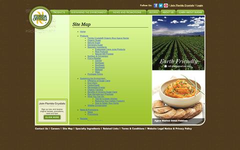 Screenshot of Site Map Page floridacrystals.com - Site Map | Florida Crystals - captured Oct. 6, 2014
