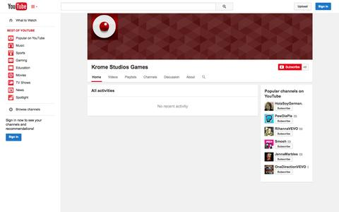 Screenshot of YouTube Page youtube.com - Krome Studios Games  - YouTube - captured Oct. 23, 2014