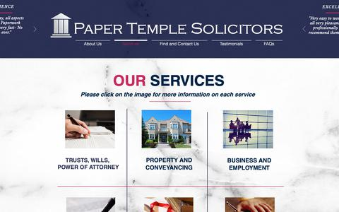 Screenshot of Services Page papertemple.com - Paper Temple Solicitors | Our Sevices - captured Sept. 26, 2018