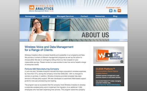 Screenshot of Case Studies Page wirelessanalytics.com - Wireless Voice and Data Management for a Range of Clients | Wireless Analytics - captured Aug. 16, 2016