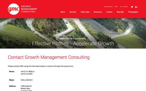 Screenshot of Contact Page growthmanagement.co.nz - Growth Management Consulting - captured Sept. 23, 2017