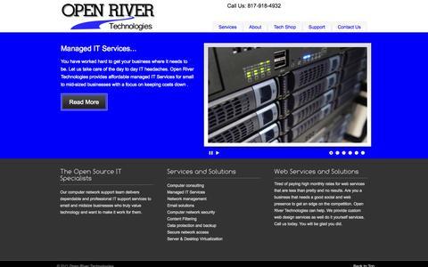 Screenshot of Home Page openrivertech.com - Open River Technologies « Open River Technologies - captured Oct. 6, 2014