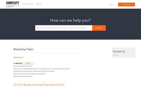 Screenshot of Support Page desk.com - Simplify Commerce |        Portal - captured Nov. 19, 2016