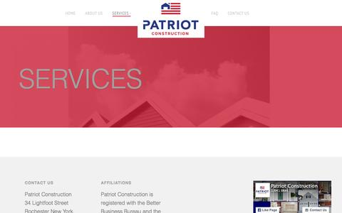 Screenshot of Services Page nypatriot.com - Services - Patriot Construction - captured Jan. 26, 2016