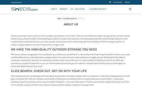 Screenshot of About Page sheds.com - Outdoor Storage | Outdoor Sheds | Sheds.com - captured Sept. 23, 2018
