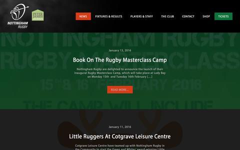 Screenshot of Press Page nottinghamrugby.co.uk - News - Nottingham Rugby - captured Jan. 13, 2016