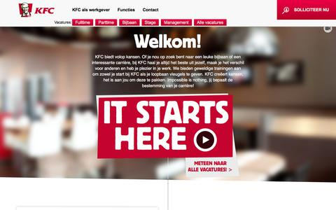 Screenshot of Home Page werkenbijkfc.nl - It starts here | KFC - captured Oct. 16, 2017