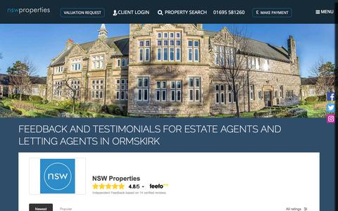 Screenshot of Testimonials Page nswproperties.co.uk - Feedback and testimonials for Estate Agents and Letting Agents in Ormskirk   NSW Properties - captured Sept. 21, 2018