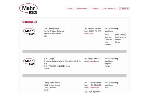 Screenshot of Contact Page esdimetrology.com - Contact Us | Mahr-ESDI - captured Nov. 8, 2016