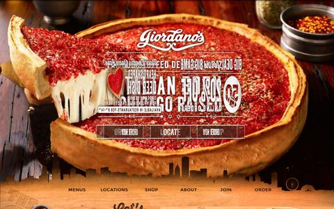 Screenshot of Home Page giordanos.com - Chicago's Famous Stuffed Deep Dish Pizza | Giordano's - captured Jan. 28, 2016