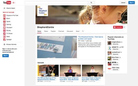 Screenshot of YouTube Page youtube.com - ShepherdCentre  - YouTube - captured Oct. 25, 2014