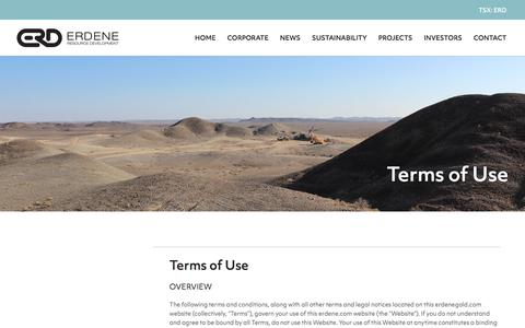 Screenshot of Terms Page erdene.com - Terms of Use | Erdene Resource Development Corp. - captured Sept. 26, 2018