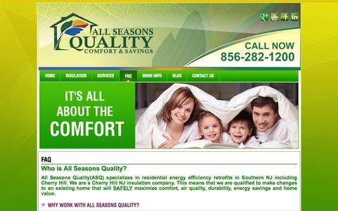 Screenshot of FAQ Page weloveinsulation.com - Cherry Hill NJ Insulation Contractors & Installation   All Seasons - captured Nov. 2, 2014