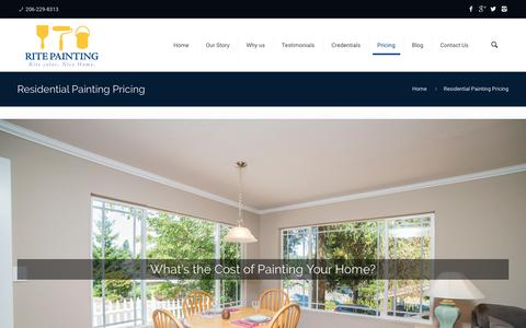 Screenshot of Pricing Page ritepainting.com - Pricing - House Painting Bellevue, Redmond, Bothell, Kenmore WA - captured June 15, 2017