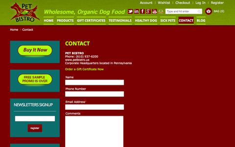 Screenshot of Contact Page petbistro.us - Contact Pet Bistro, Healthy and Organic Food for Dogs - captured Dec. 8, 2015